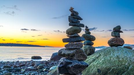Inukshuk/rocks in the sunset